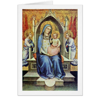 Madonna Enthroned By Don Lorenzo Monaco Greeting Card