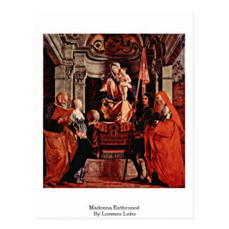 Madonna Enthroned By Lorenzo Lotto Postcard