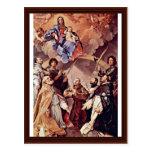 Madonna Enthroned con el santo patrón de Bolonias Tarjeta Postal