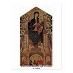 Madonna Enthroned con ocho ángeles, cuatro profeta Tarjeta Postal