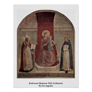 Madonna Enthroned con St Dominic por Fra Angelico Póster