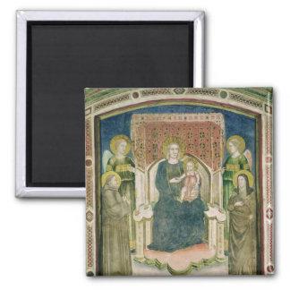 Madonna Enthroned con St Francis de Assisi Imán De Frigorifico