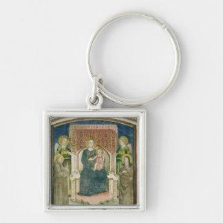 Madonna Enthroned con St Francis de Assisi Llavero Cuadrado Plateado