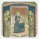 Madonna Enthroned con St Francis de Assisi Pegatina Cuadrada