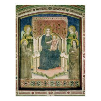 Madonna Enthroned con St Francis de Assisi Postales