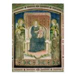 Madonna Enthroned con St Francis de Assisi Tarjeta Postal