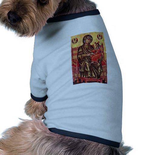 Madonna Enthroned de Italo-Byzantinischer Maler De Camiseta Con Mangas Para Perro