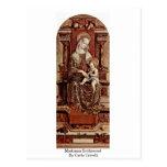 Madonna Enthroned por Carlo Crivelli Postal