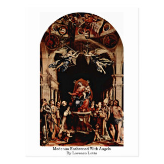 Madonna Enthroned With Angels By Lorenzo Lotto Postcard