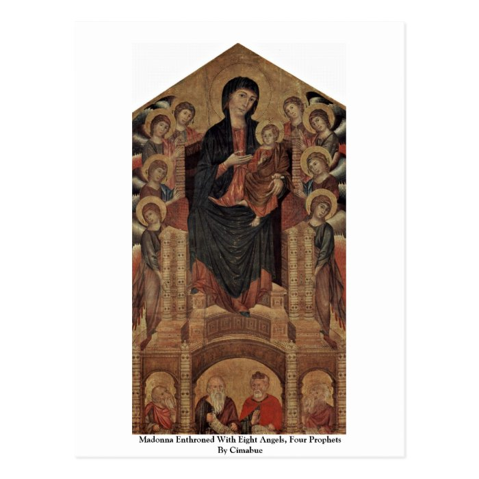madonna enthroned with angels and prophets Page of the madonna in majesty (maestà) medieval painting and represents the madonna enthroned with child and angels the prophets jeremiah and isaiah.