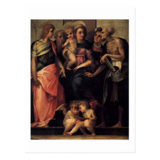 Madonna Enthroned with Four Saints postcard