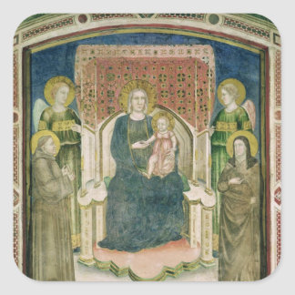 Madonna Enthroned with St. Francis of Assisi Square Sticker
