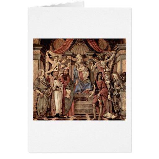 Madonna Enthroned y los santos de Sandro Botticell Felicitación