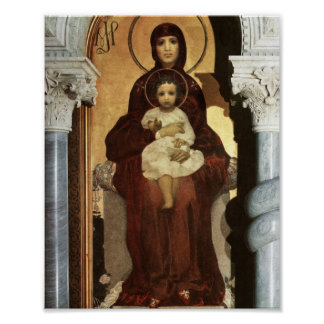 Madonna Holding Baby Jesus on the Throne Poster