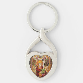 Madonna Holding Baby Jesus Silver-Colored Heart-Shaped Metal Keychain