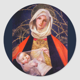 Madonna Holding Child Classic Round Sticker