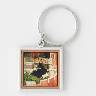 Madonna Holding White Unicorn Silver-Colored Square Keychain