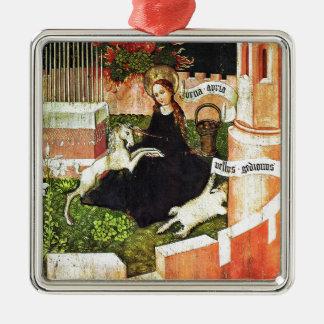 Madonna Holding White Unicorn Metal Ornament