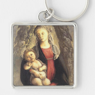 'Madonna in Glory with Seraphim' Silver-Colored Square Keychain
