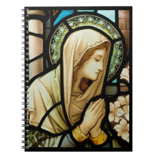 Madonna in Prayer Stained Glass Notebook