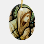 Madonna in Prayer Stained Glass Double-Sided Oval Ceramic Christmas Ornament