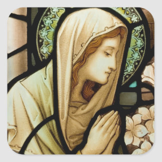 Madonna in Prayer Stained Glass Square Sticker