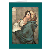 Madonna in Scarf Holds Baby Jesus Greeting Card