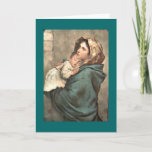 "Madonna in Scarf Holds Baby Jesus Holiday Card<br><div class=""desc"">Vintage image of Mary and baby Jesus -  original painting on wood -</div>"