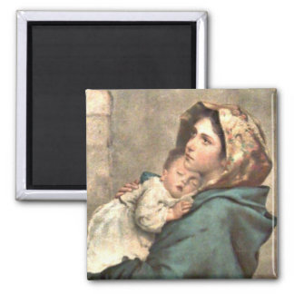 Madonna in Scarf Holds Baby Jesus Magnet