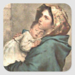 Madonna in Scarf Holds Baby Jesus Square Sticker