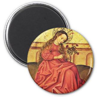 Madonna In The Garden By Unknown Rhenish Master (B Fridge Magnets