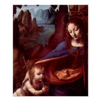 Madonna in the rock cave Detail by Da Vinci Posters