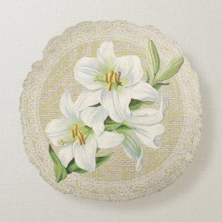Madonna lily & lace floral vintage pillow