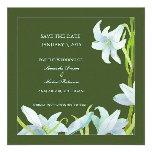 Madonna Lily Save The Date Wedding Invitations Square Invitation C