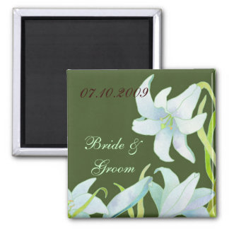 Madonna Lily Wedding Save the Date 2 Inch Square Magnet