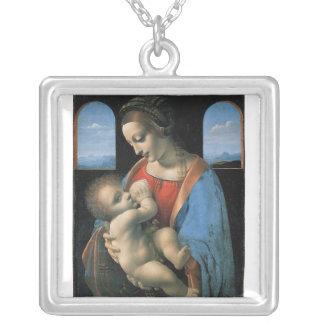 Madonna Litta by Leonardo Da Vinci c. 1490-1491 Square Pendant Necklace