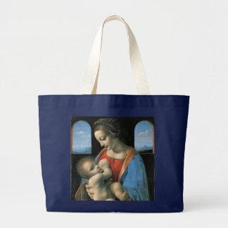 Madonna Litta by Leonardo da Vinci Large Tote Bag