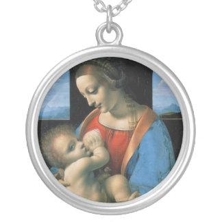 Madonna Litta by Leonardo Da Vinci Round Pendant Necklace