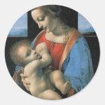 Madonna Litta de Leonardo da Vinci C. 1490-1491 Etiquetas Redondas