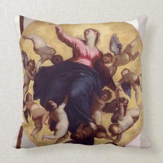 Madonna llevó por los ángeles (el fresco del cojín