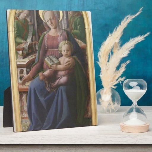 Madonna, niño Enthroned, ángeles de Filippo Lippi Placa De Madera