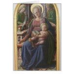 Madonna, niño Enthroned, ángeles de Filippo Lippi Tarjeta
