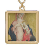 Madonna of Humility, c.1410 (tempera on panel) Square Pendant Necklace