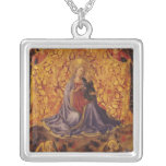 Madonna of Humility with Christ Child and Angels Square Pendant Necklace
