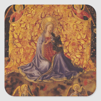 Madonna of Humility with Christ Child and Angels Square Sticker