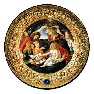 Madonna of Magnificat Christmas Party Blue Gem Card