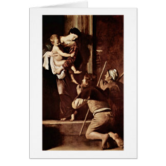 Madonna Of Pilgrims By Michelangelo Da Caravaggio Greeting Card