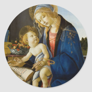 Madonna of the Book by Botticelli Classic Round Sticker