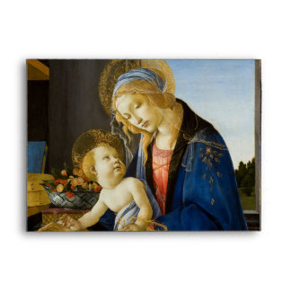 Madonna of the Book by Botticelli Envelope