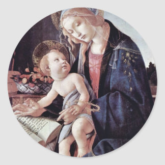 Madonna Of The Book, By Botticelli Sandro Round Stickers